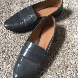 Nine West grey patent leather loafers